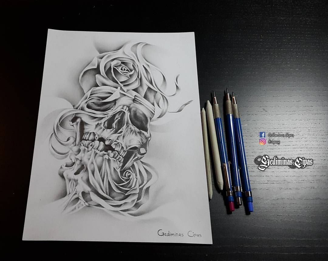 Line Art Tattoos : Tattoo sketch skull drawing abstract
