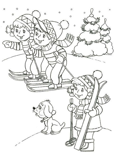 winter coloring page for kid 3 Crafts and Worksheets