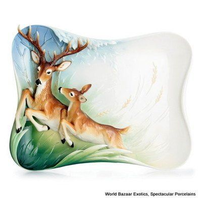 FZ02878 Franz Porcelain Graceful Woodland deer tray Ltd Edition 2000 New 2012 FranzColletion