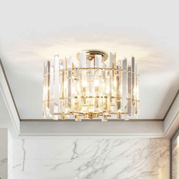 6 Lights Prismatic Crystal Semi Flush Mount Modern Gold Drum Shaped Foyer Close To Ceiling Lamp 110v 12 Ceiling Lights Ceiling Lamp Semi Flush Ceiling Lights Crystal semi flush mount lighting