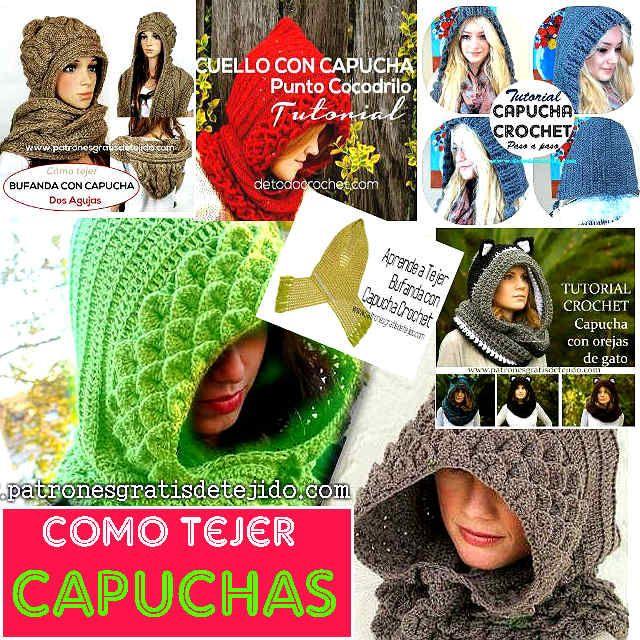 tutoriales de capuchas crochet y dos agujas | PONCHOS DIVERSOS r ...