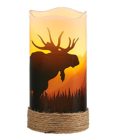 Love this Cream & Brown Moose LED Decal Candle on #zulily! #zulilyfinds