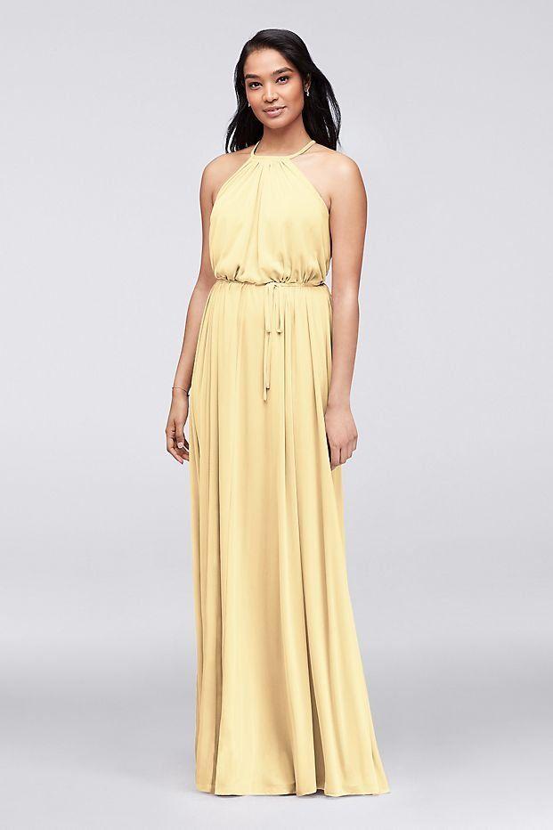 Pastel Canary Yellow Soft Mesh Halter Bridesmaid Dress With Slim Sash David S Bridal