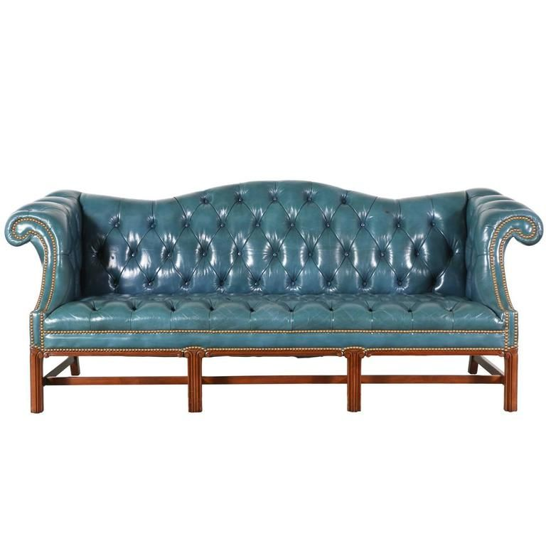 Vintage English Leather Teal Blue Chesterfield Sofa | Chesterfield