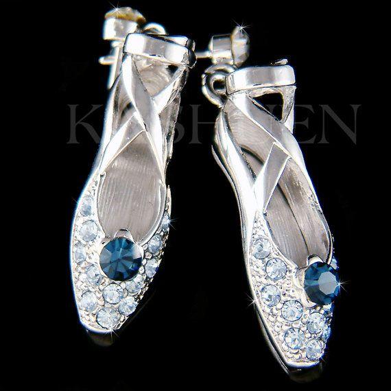 Cristal de Swarovski azul bailarina zapatos zapatillas Ballet Danza palo  pendientes joyas regalo de Navidad nuevo para el amante del lago cisnes  Cascanueces 8f0a5fbc5b69