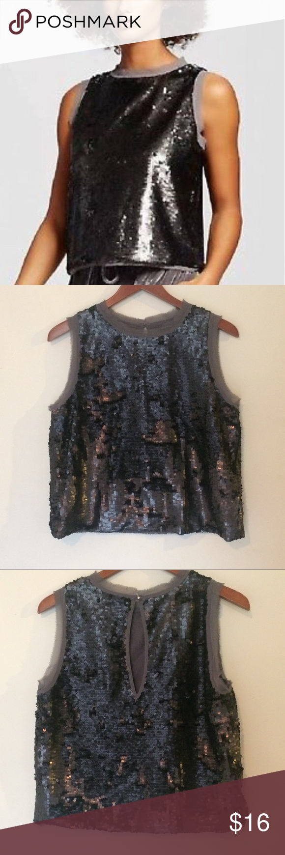91898599ee76ec Who What Wear Sequin Top Size M Thunder gray sleeveless sequin top. Keyhole  back.