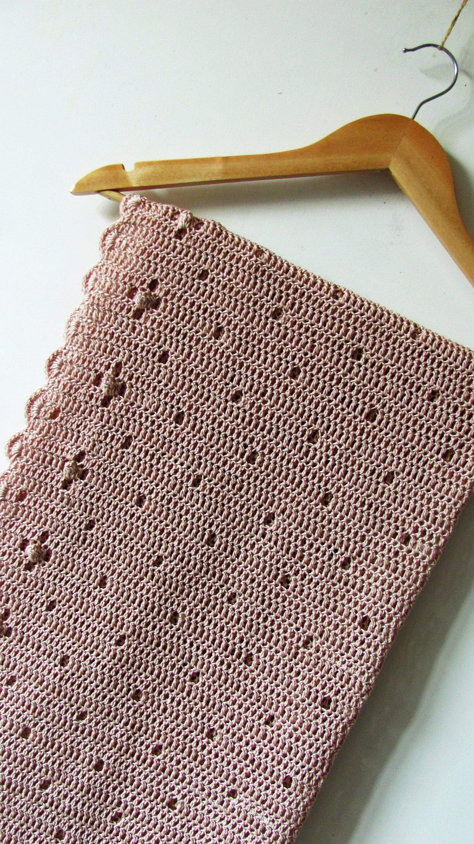 Crochet Baby Girl Blanket - beige-pink newborn bla