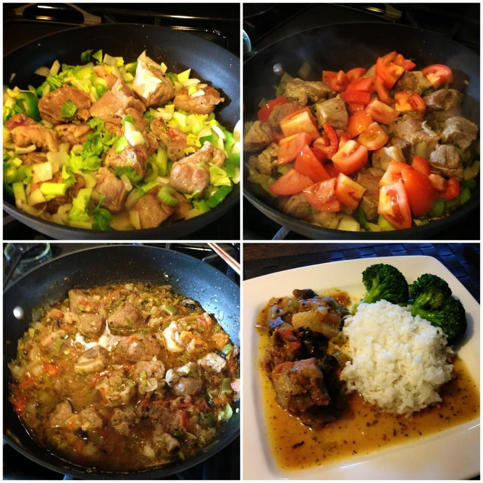Delicious basil parsley pork stew with veggies & tomatoes!