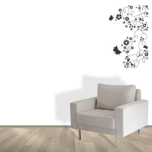 Adesivo Flores e Borboletas   Adesivo Plotter de Recorte Adesivo brilhante Tamanho: 58 x 92 cm
