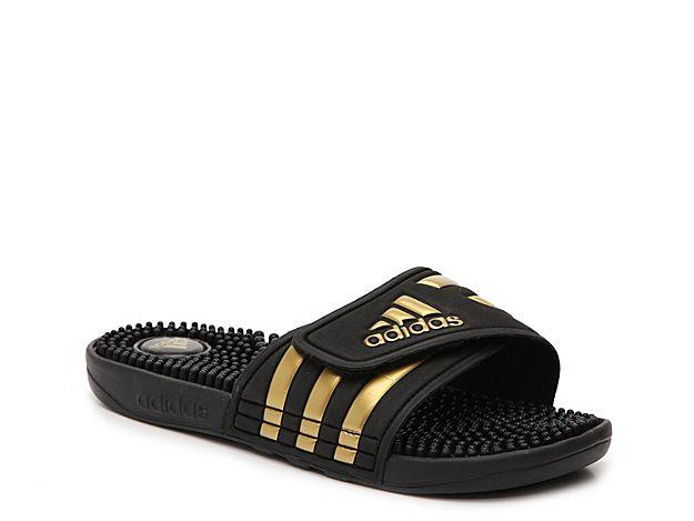 pretty nice d1f8a 7f4b0 Women Adissage Slide Sandal -BlackGold Metallic