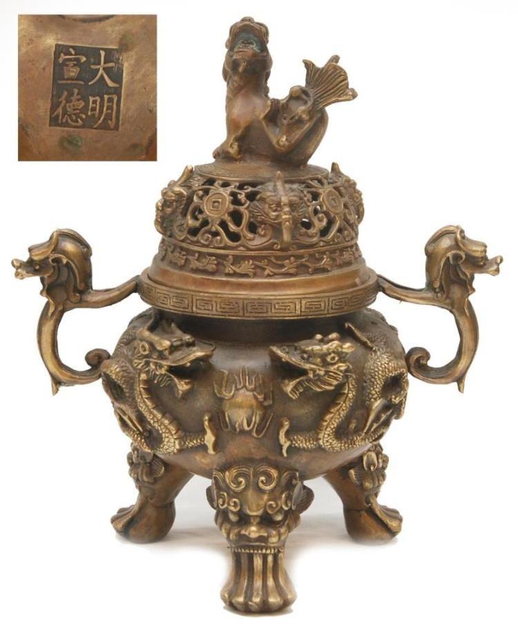 Marked Chinese Old Bronze Dragon Dragons Foo Fu Dog Lion Incense Burner Censer