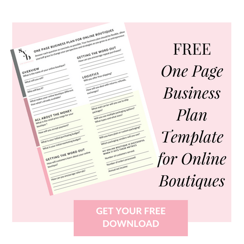 How To Start An Online Clothing Boutique One Page Business Plan Online Boutique Business Retail Business Ideas