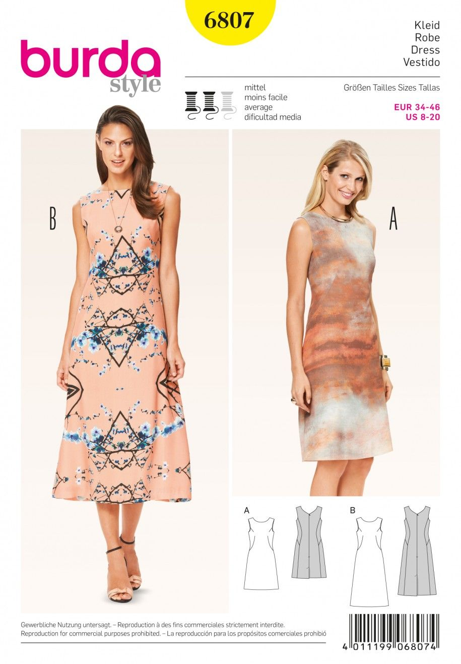 Burda B6807 Dresses Sewing Pattern