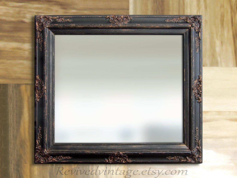 BLACK BATHROOM MIRROR For Sale Rustic Framed Decorative Ornate ...