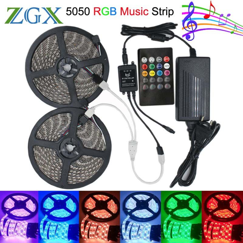 Smd 5050 Music Synch Rgb Led Strip Light 5m 10m 60led M Flexible Decor Ribbon Tape Lamp 20 Key Ir Contro Led Strip Lighting Strip Lighting Rgb Led Strip Lights