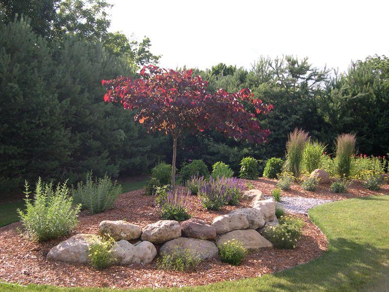 boulder berm small yard landscaping