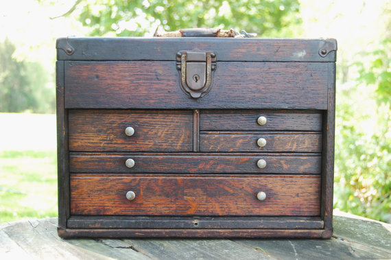Vintage Wooden 5 Drawer Machinist Box With Key By C3l35t3 On Etsy 160 00 How To Antique Wood Tool Box Machinist Tool Box