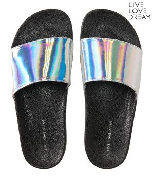 LLD Iridescent Slide-In Sandals -