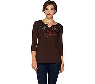Quacker Factory Super Sparkle Holiday Trio 3/4 Sleeve T-shirt
