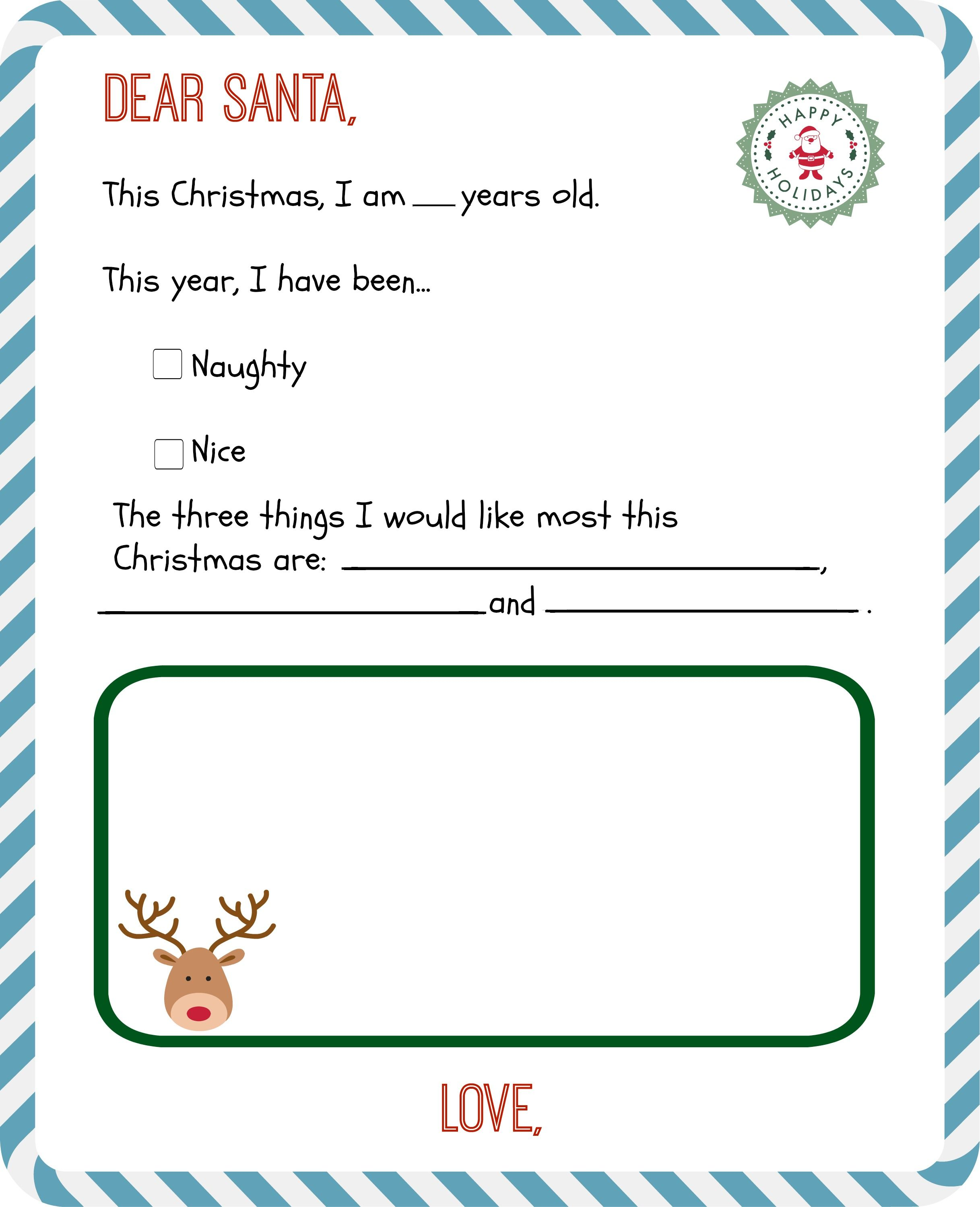 Free Printable Letter to Santa Templates + Get a Reply