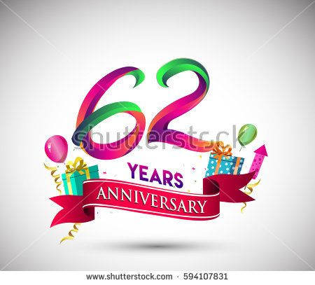 62nd Anniversary Celebration Design, with gift box and balloons, Red ribbon, Colorful Vector template elements for your, sixty two years birthday celebration party.