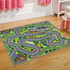 Blue Rugs Childrens Formula One Playmat Roadmap Toy Cars Hot Wheels Bedroon Play Room Racing Track x Cm Rug