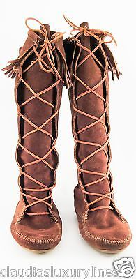 Moccasins Women\'s Brown Suede Leather Tall Boots Lace-up Fringe Sz 9
