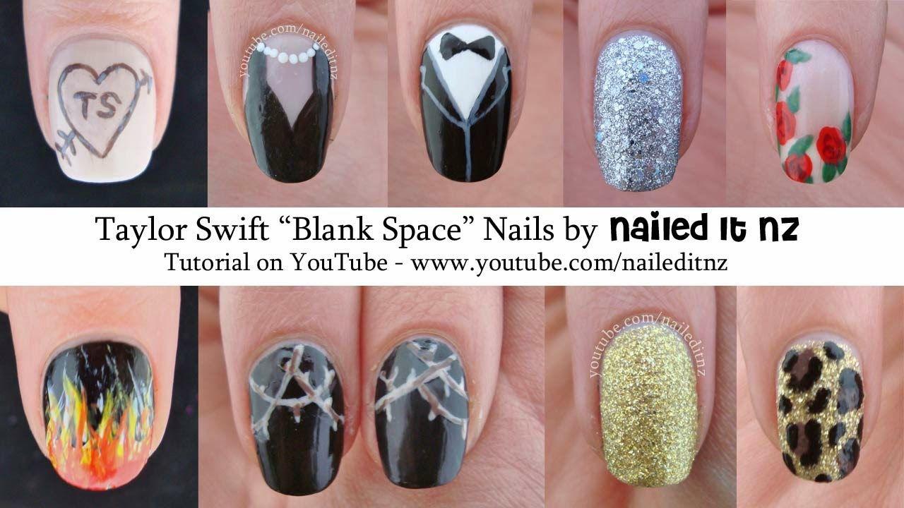 Taylor Swift Nails Nailed It Nz Blank E Nail Art Tutorial