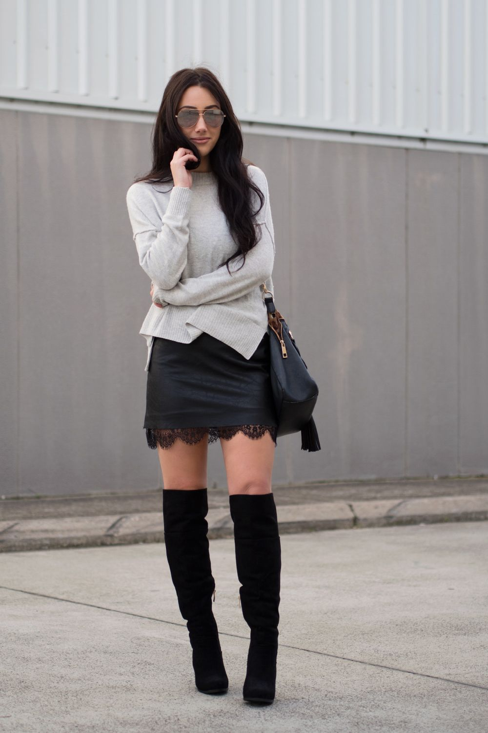 oversized knit, mini skirt & over the knee boots