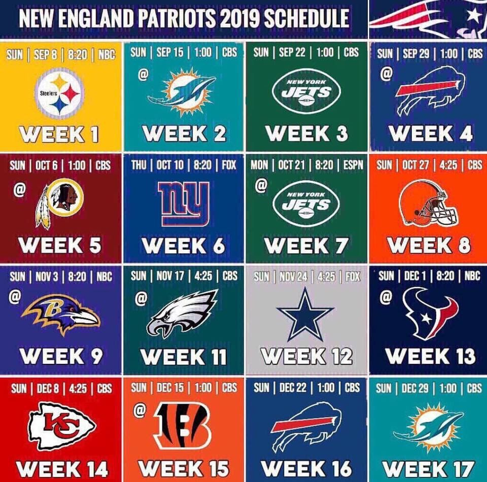 NE Patriots 2019 Schedule Patriots football schedule