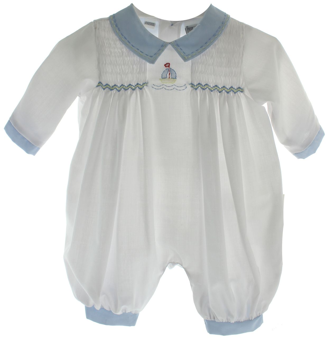764567f32723 Hiccups Childrens Boutique - Preemie Boys White Sailboat Romper Outfit |  Friedknit by Feltman, $32.00