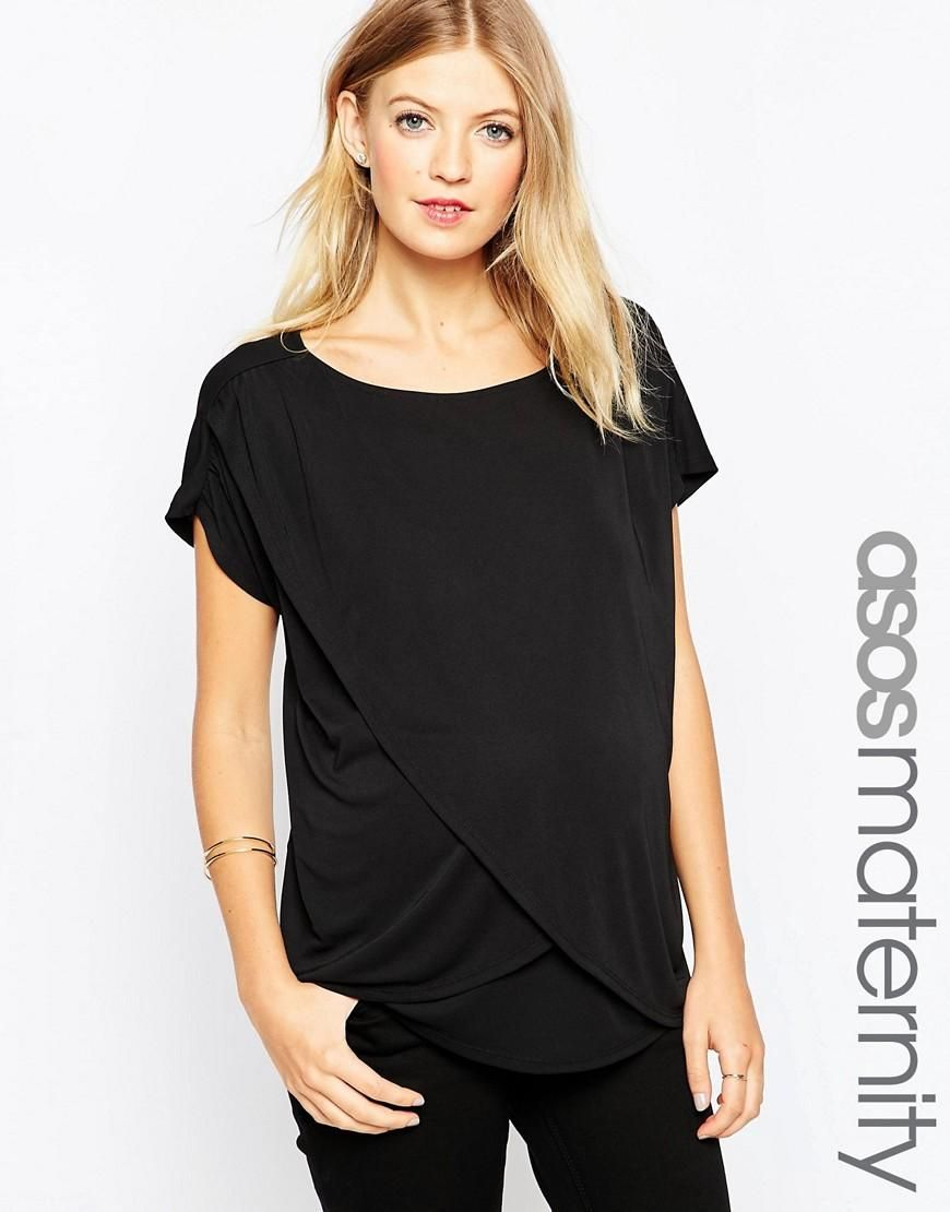 ASOS Maternity NURSING Wrap Top In Crepe at ASOS