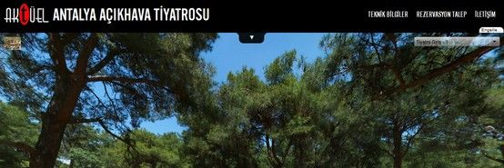 Aktüel Event & Organizasyon'un işletmesini aldığı Antalya Açıkhava Tiyatrosu web sitesi yayına açıldı. 360° Sanal Tur uygulaması üzerine inşa edilen site, iphone ve ipad'den de sorunsuzca ziyaret edilebiliyor. Açıkhava tiyatrosu ile ilgili Teknik Bilgiler, iletişim ve rezervasyon talep formuna siteden ulaşabilirsiniz. http://www.antalyaacikhavatiyatrosu.com/