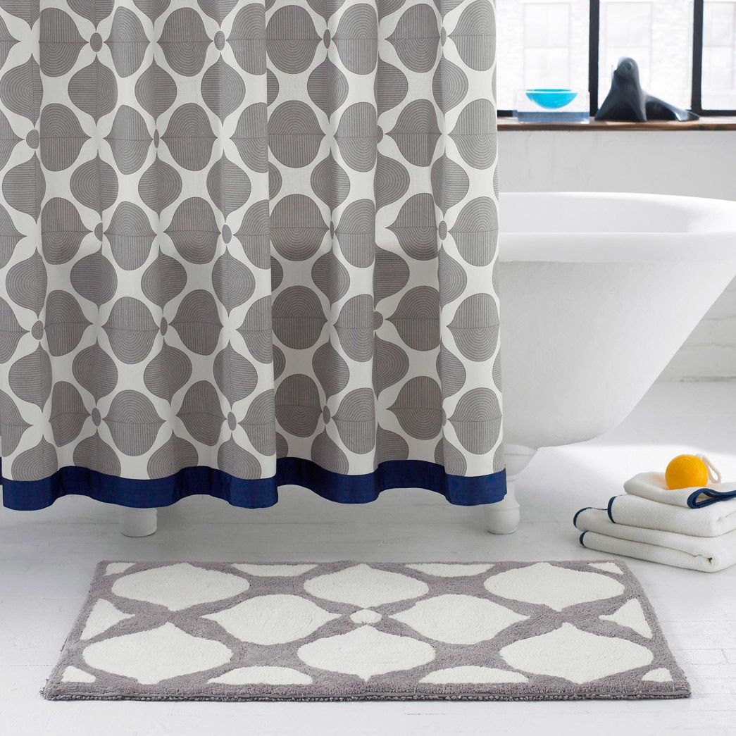 navy and cream shower curtain. Grey Curtain for Safe Color in Your Bathroom  Navy Would be perfect with blue tiles except that it s 98 Jonathan