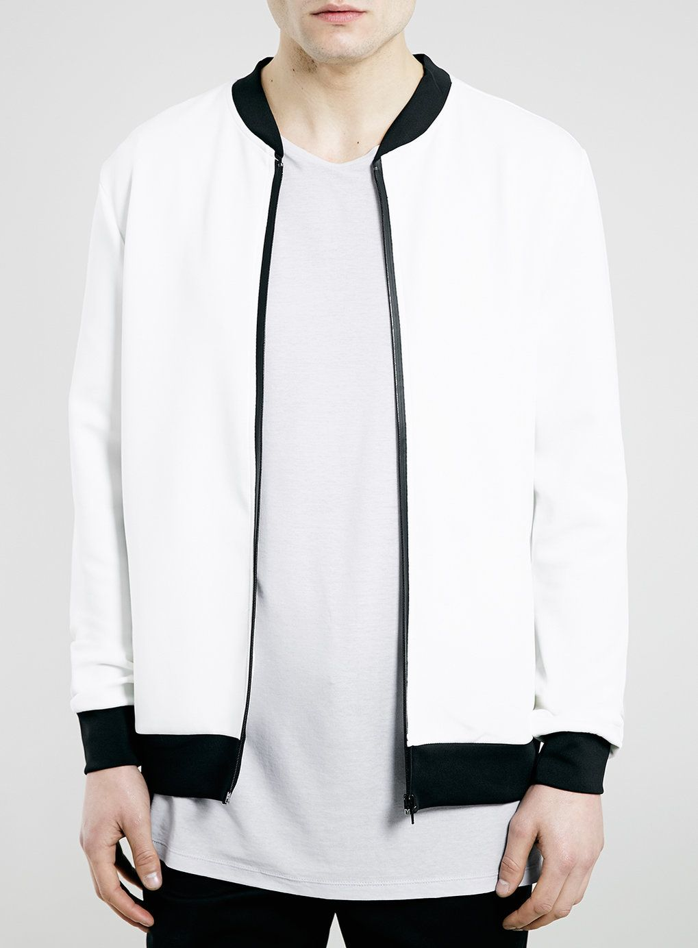 White/Black Tape Zip Technical Bomber Jacket | Men's jacket and ...