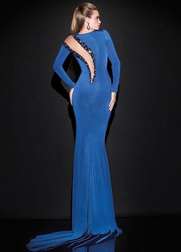 1de30ac0f2236 saks mavisi uzun kollu taş süslemeli şık abiye elbise modeli arkadan görünüm