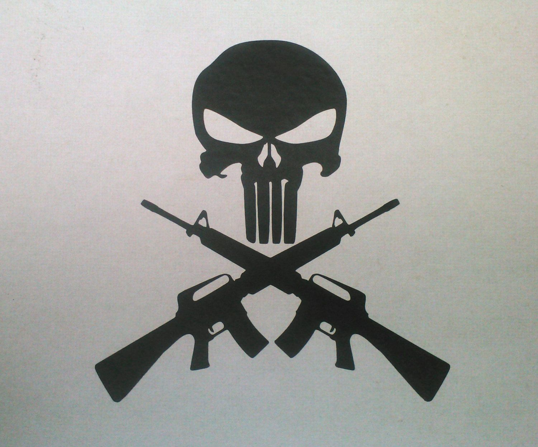 "Punisher Skull and Cross Guns AR15 M16 6"" T Vinyl Decal or ..."