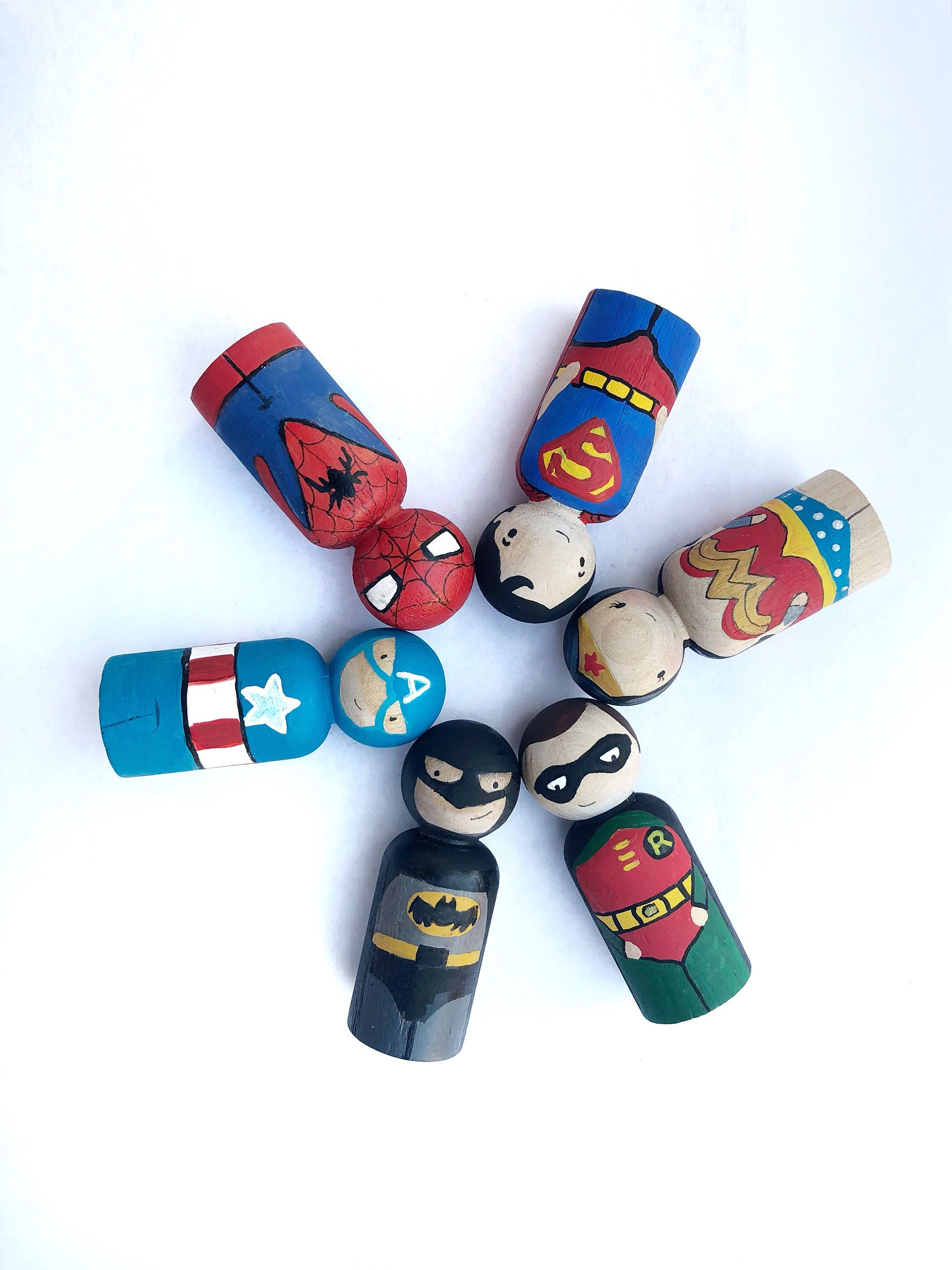 Superhero Peg doll set / Gift for Boys / Christmas Gift / Wooden Toy / Batman / Captain America Busy Bag Toddler Super Hero Stocking stuffer -   18 fabric crafts For Boys christmas gifts ideas