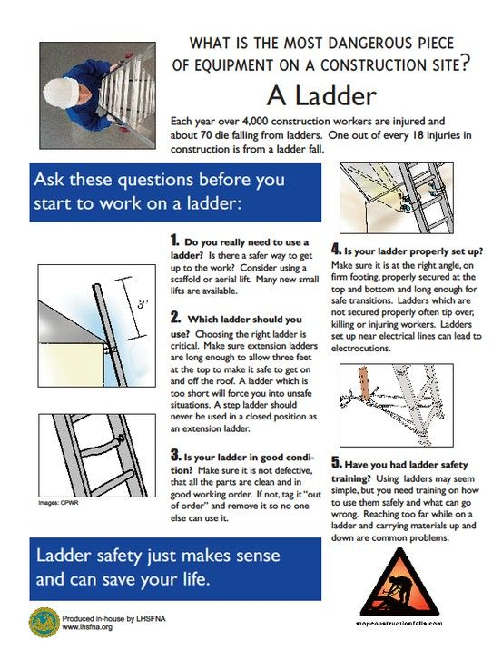Ladder safety infographics pinterest safety for Ladder safety tips