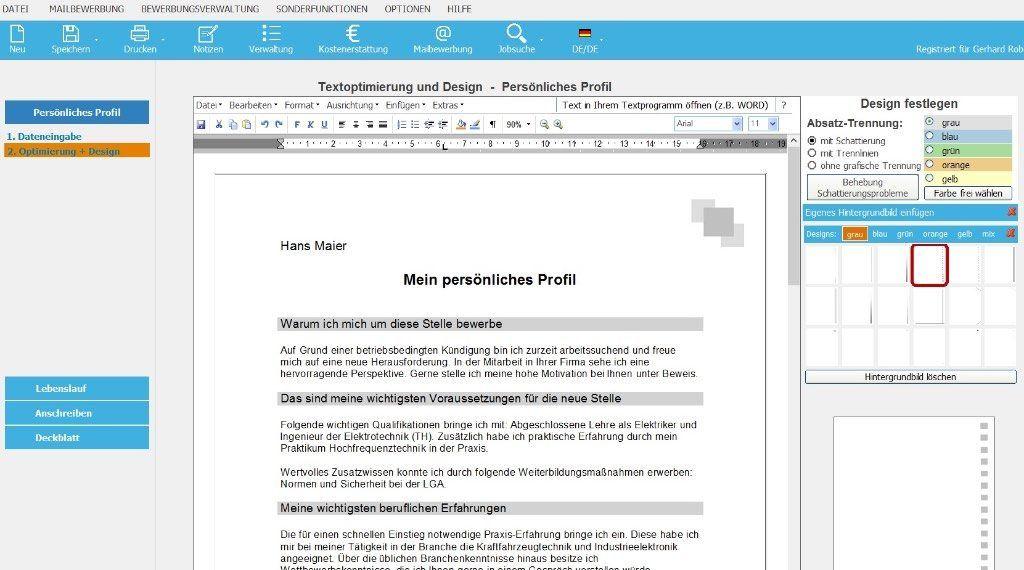 Die Software Erstellt Individuelle Bewerbungsunterlagen Inkl Bewerbungsschreiben Cv Lebenslauf Profil Online Bewerbung Bewerbung Schreiben Bewerbungstipps
