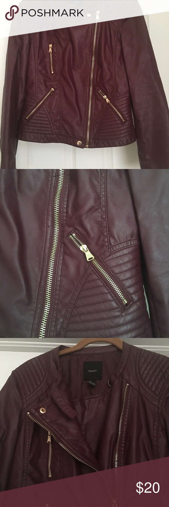 Faux leather jacket Faux leather. Darling multi zip motorcycle jacket. Deep burgundy color / acetate lining. Cute detailing Forever 21 Jackets & Coats