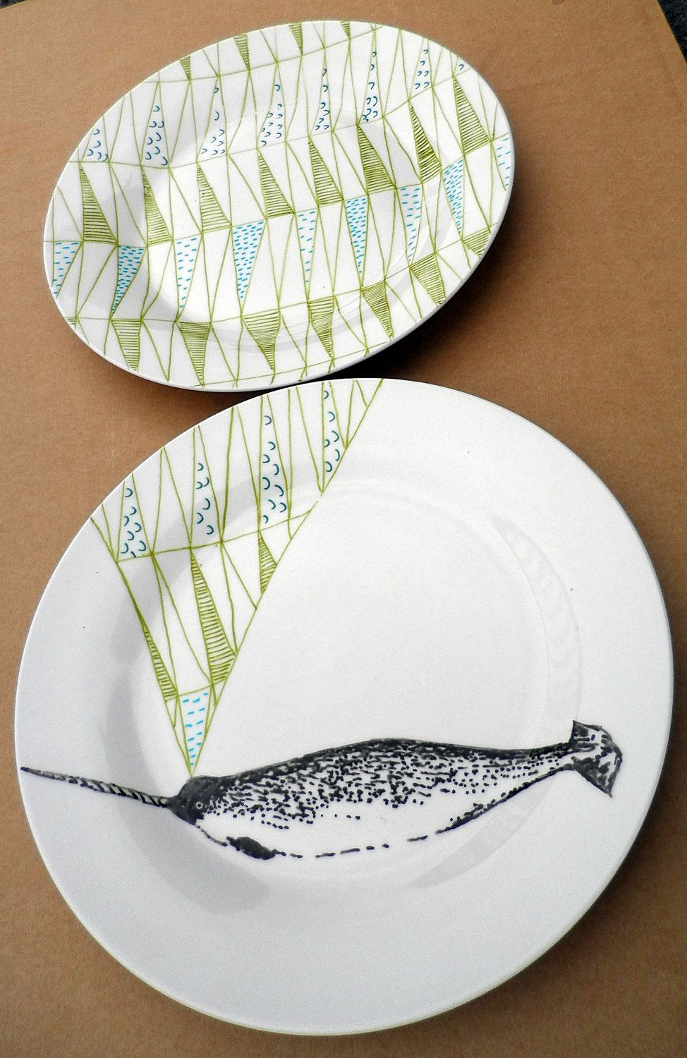 Narwhal Whale Geometric Design Plates hand illustrated porcelain.