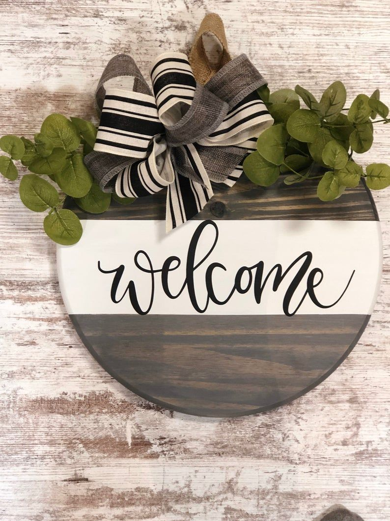 Photo of Welcome Farmhouse Round Wooden Sign / Door Hanging