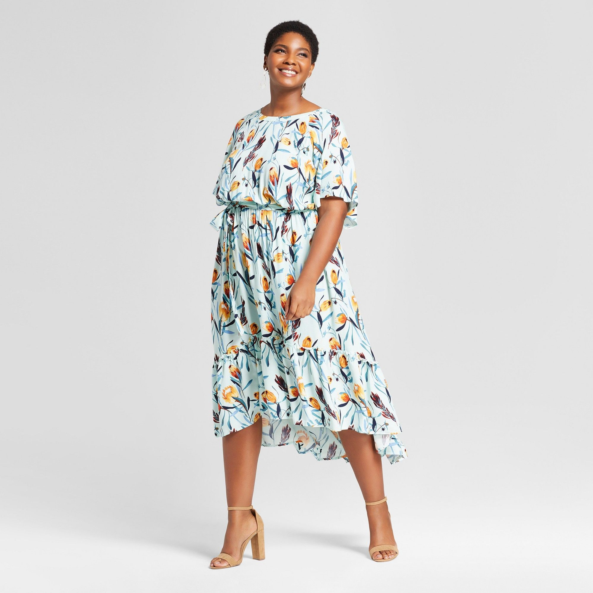 Plus Size Maxi Dress Front Wrap V neck Short Sleeves Floral Pattern Sash Detail