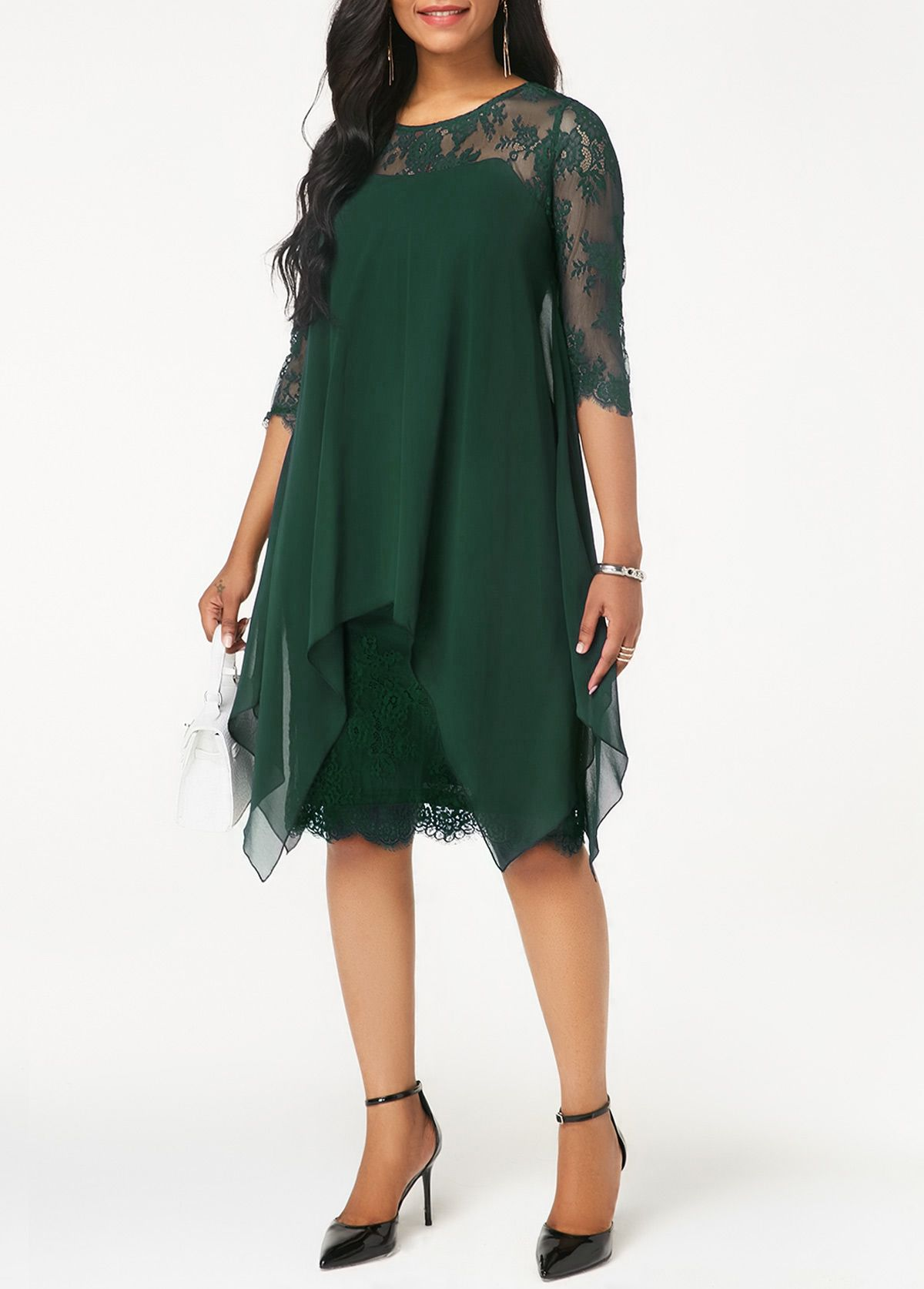 59166f3b82 Dark Green Three Quarter Sleeve Chiffon Overlay Lace Dress