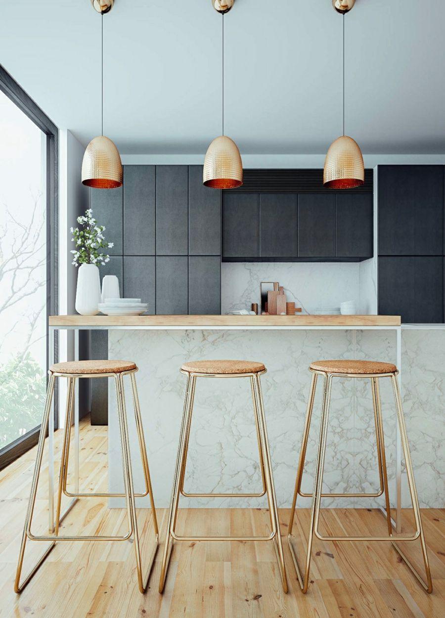 kücheninsel mit marmor arbeitsfläche holz und hängeleuchten aus ...