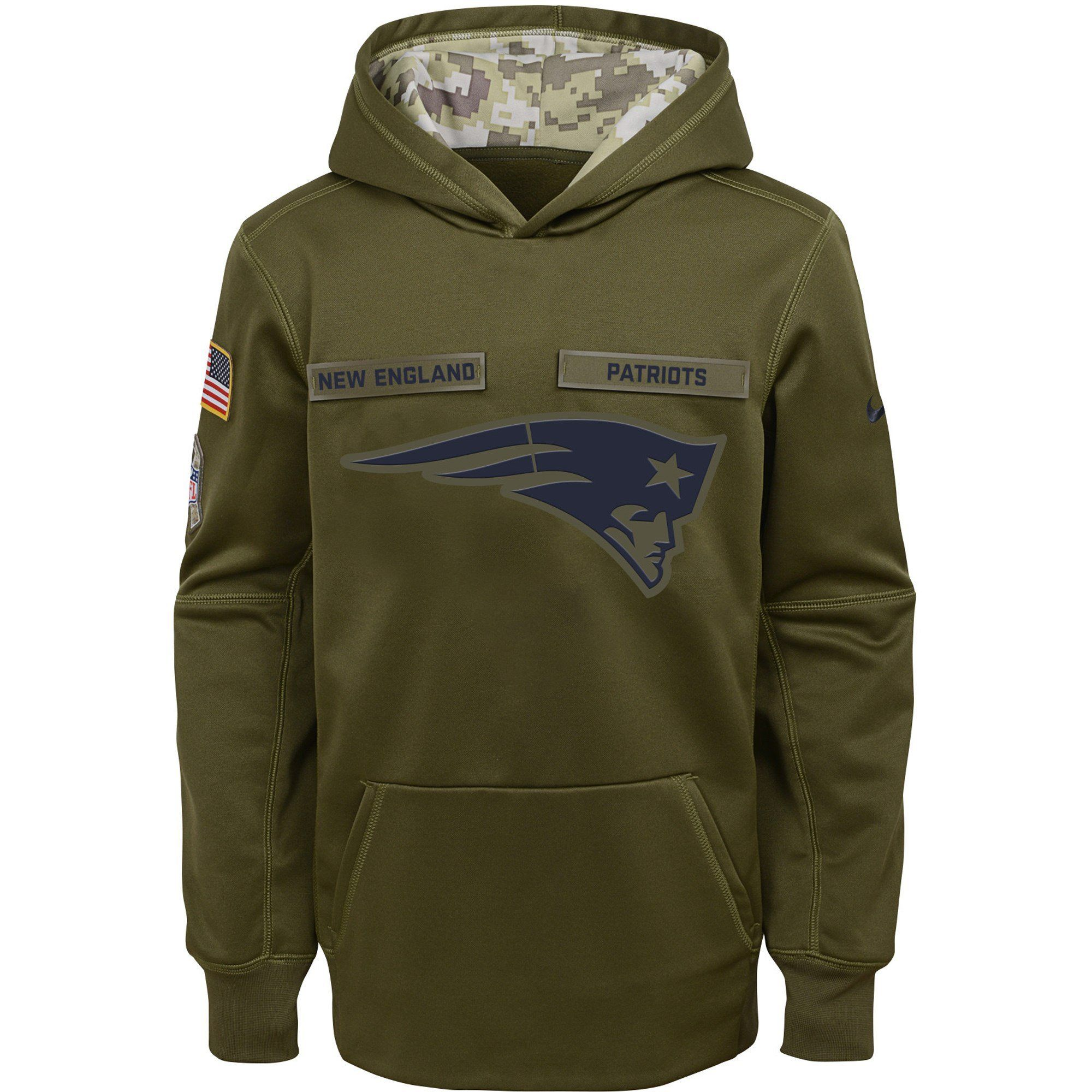 62c1ec027 Men's New England Patriots Nike Green Salute to Service Pullover  Performance Hoodie