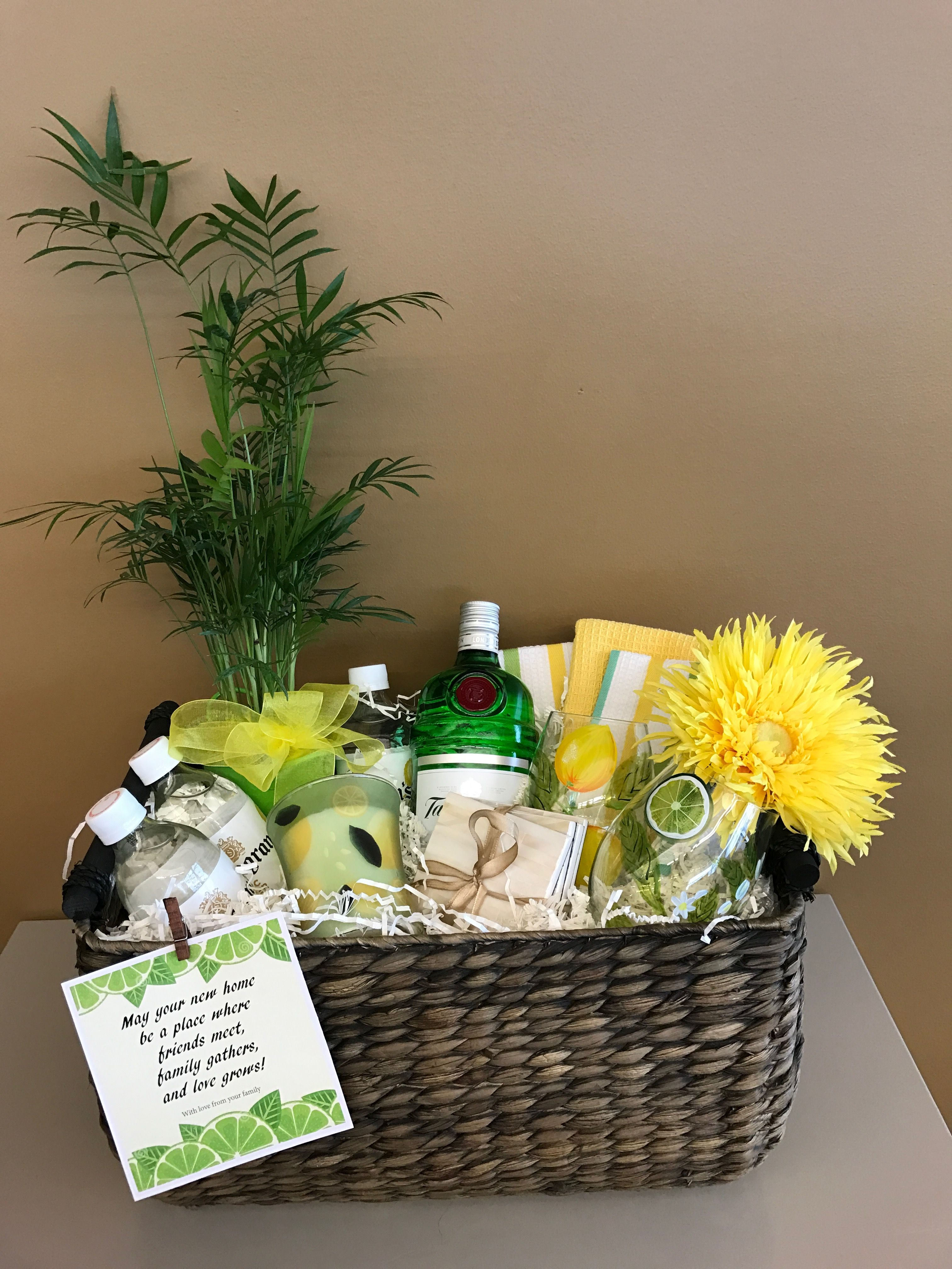 Gin And Tonic Basket With Lemon Lime Theme Filled With G C Hand