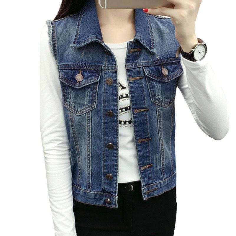 좋은 품질의 데님 조끼 여성 재킷 코트 2017 가을 모든 경기 청바지 vintage 양복 조끼 민소매 거리 포켓 colete feminino