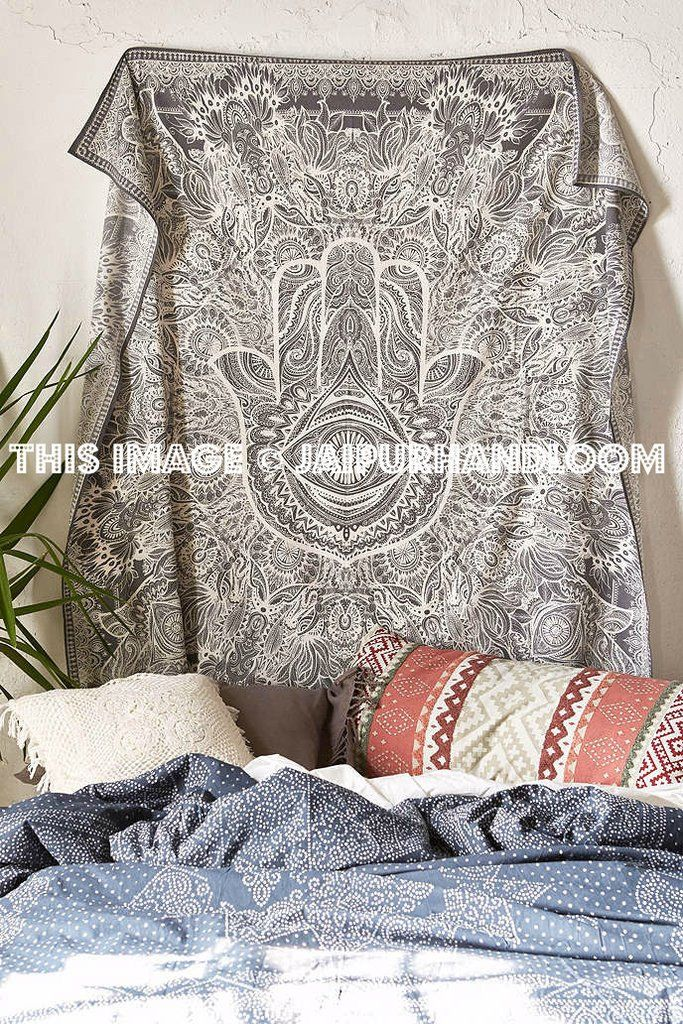 Grey Twin Multi Sketched Hand Hamsa Tapestry Trippy Dorm